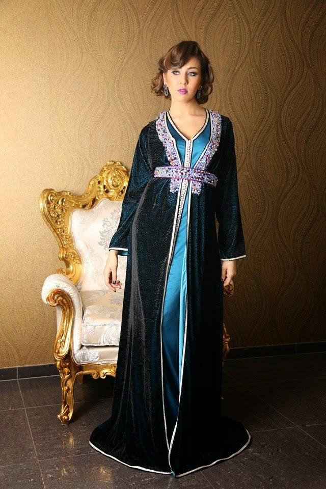 caftan marocain noir