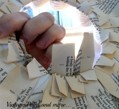 Book Page Wreath Tutorial - finishing the back after last row applied