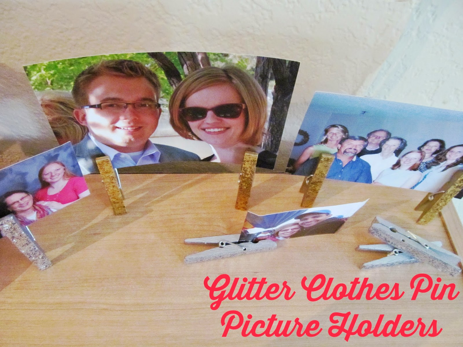 Glitter Clothes Pin Picture Holders