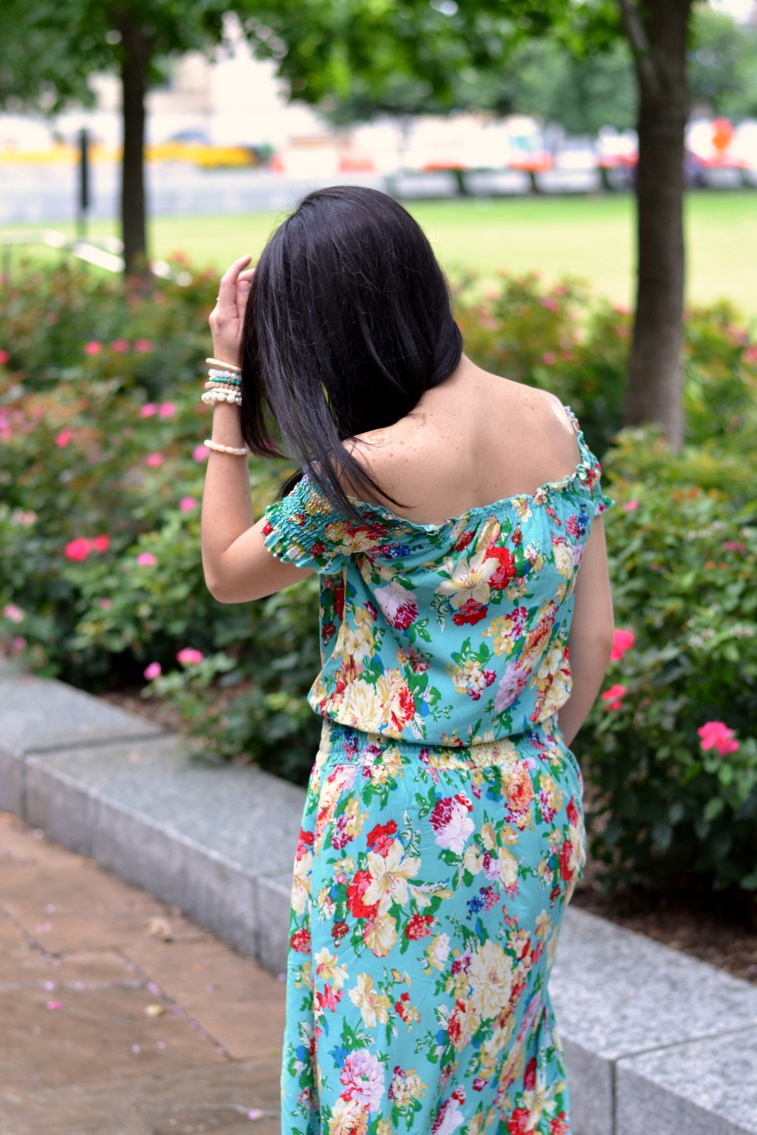 Summer off the shoulder maxi dress
