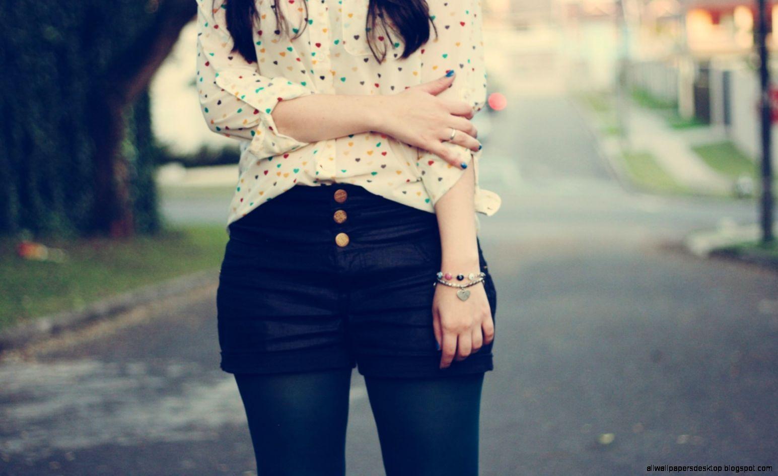 Girl Shorts Shirt Mood Photo HD Wallpaper   FreeWallsUp
