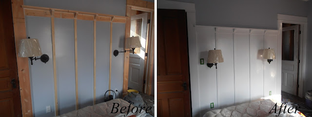 Board and Batten wall, before and after