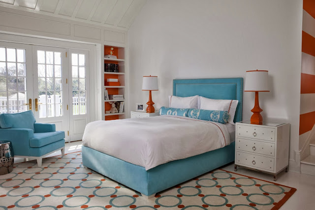 adorable turquoise and orange bedroom scheme with attractive motifs and modern bedroom design