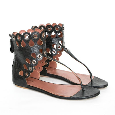 alaia tejus grommet eyelet scalopped sandals shoes lizard skin