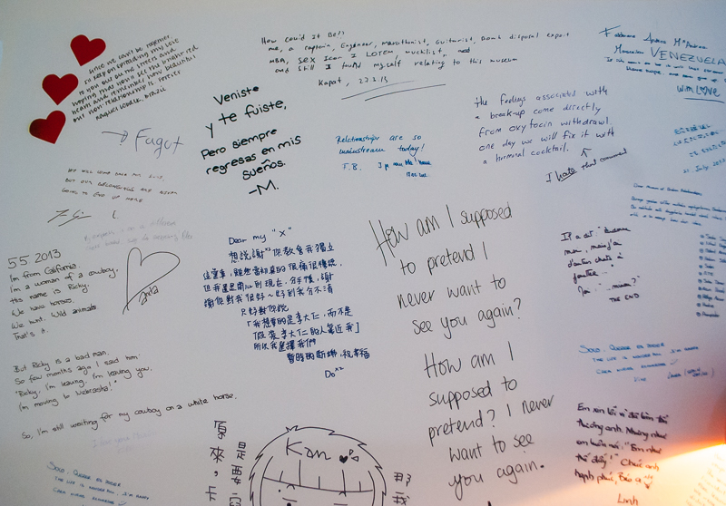wall of messages in the museum of broken relationships in zagreb croatia