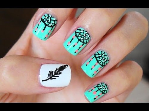 The Exciting Simple dreamcatcher nail designs Image