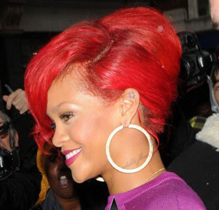 rihanna red hair updo style 2012