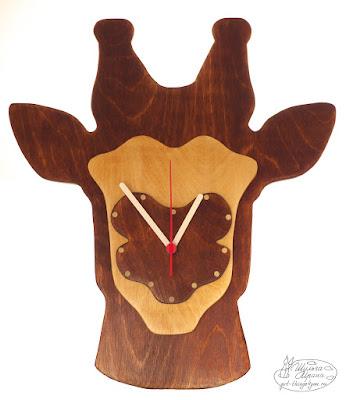часы жираф, часы на заказ, стиль рустик