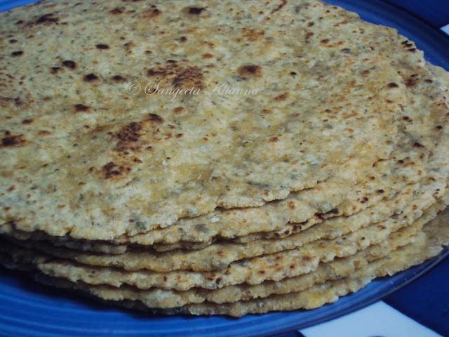 corn -oats -whole wheat parathas.... herbed multi-grain flat breads