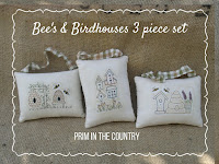 Bee's & Birdhouses Pattern 3 Piece set $4.00