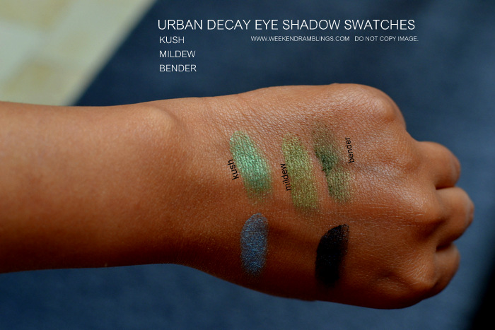 Urban Decay Makeup Eye Shadow Swatches Kush Mildew Bender Indian Beauty Blog