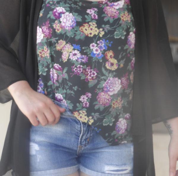 New Look Floral Cami, Zara Denim Shorts, ASOS Sandals, New Look Kimono