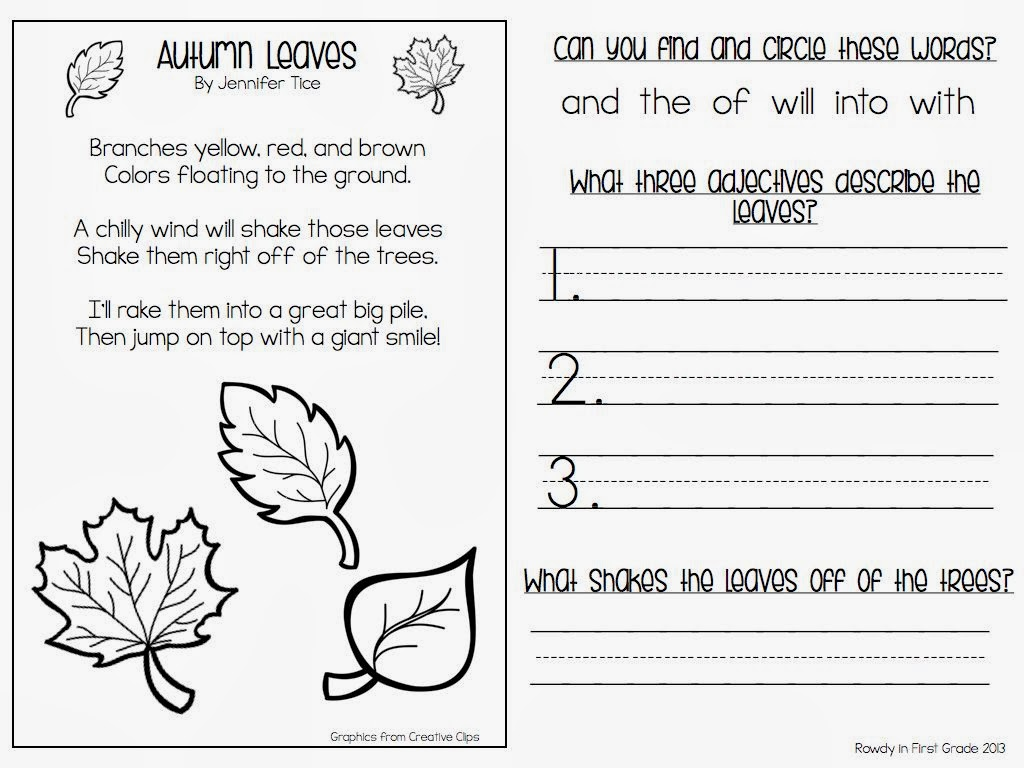 Worksheet First Grade School Work free 1st grade day of fall school work closet fallen leaves subtraction