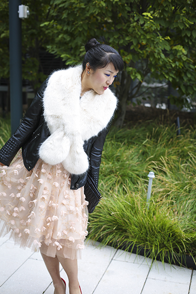 Zara leather jacket with Anthropologie Tulle skirt