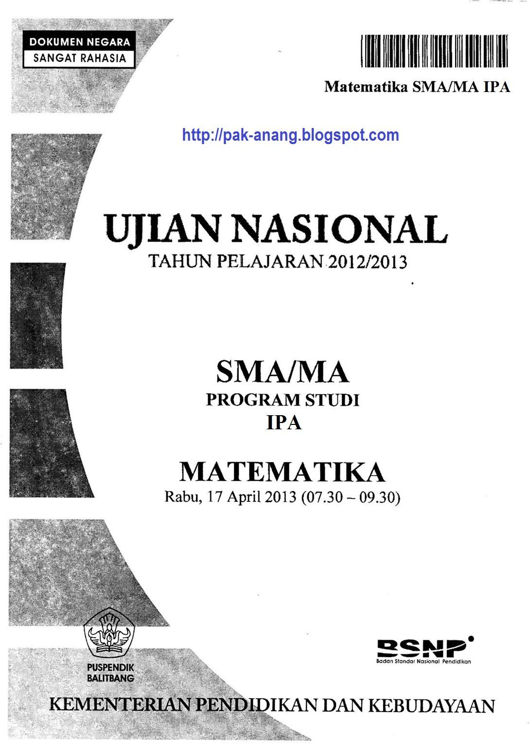 Naskah Soal UN Matematika SMA IPA 2013 Paket 1