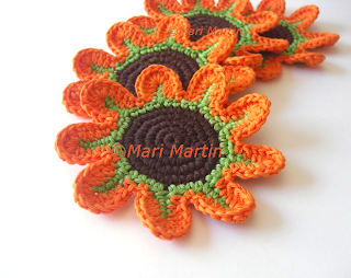 Crochet Flower Coasters Orange