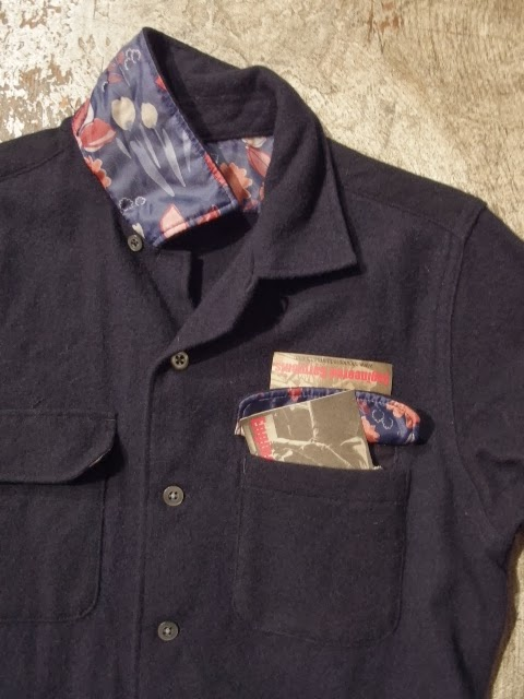 fwk by engineered garments classic shirt dress in dk.navy 12oz all wool flannel