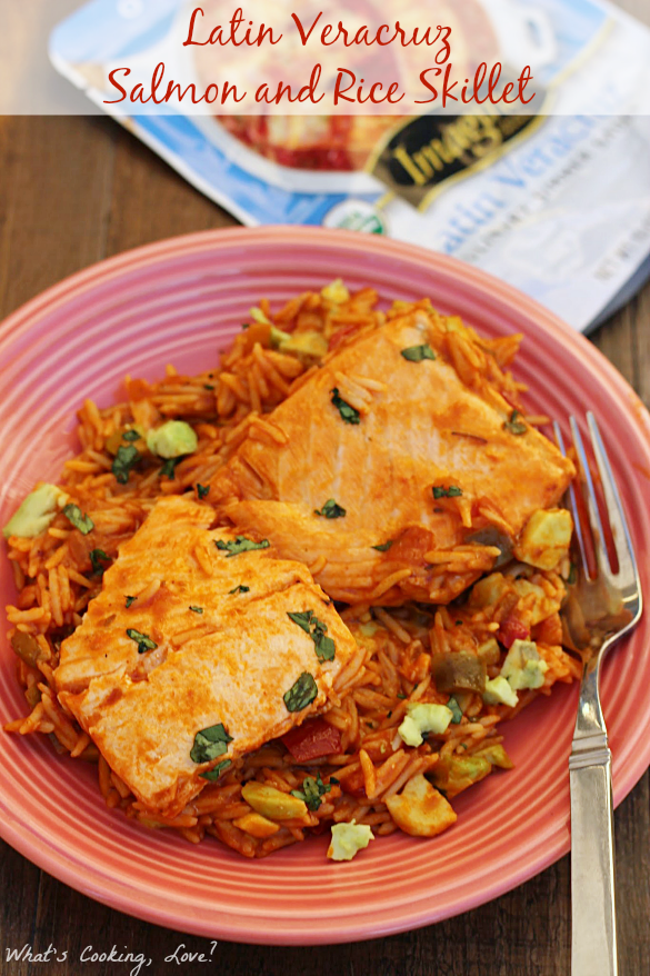 Latin Veracruz Salmon and Rice Skillet