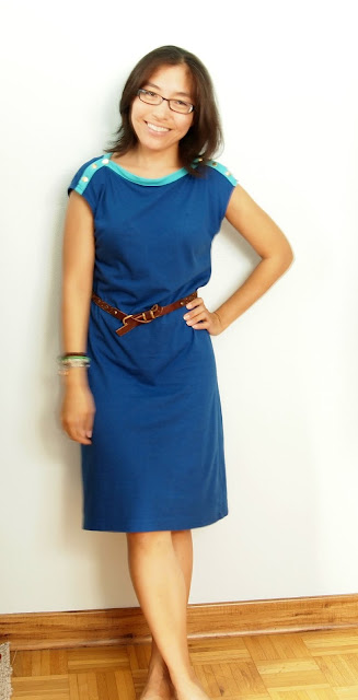blue knit dress t-shirt dress brown belt teacher style