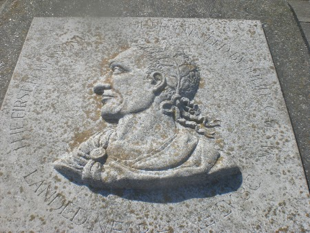 Julius Caesar Plaque on Walmer Beach, where he first landed in Britain with his soldiers