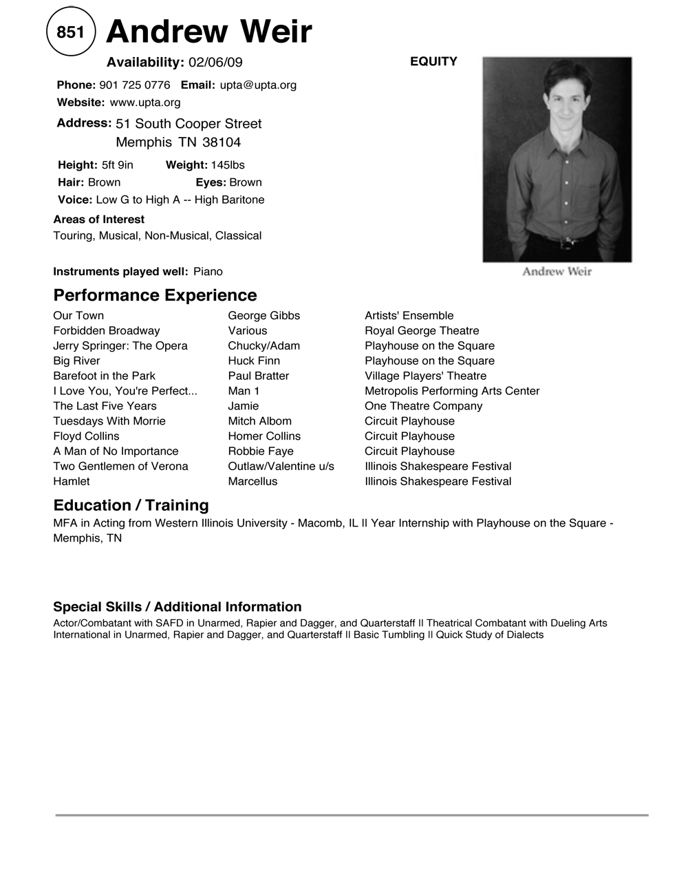 sag actor - Actor Resume Template