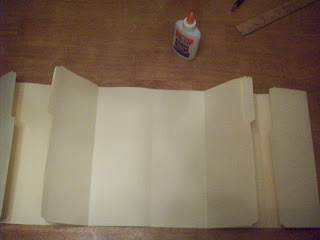 Line folders up and press one side of file folder #1 and #3 to the glued sides of file folder #2.  Allow time for glue to dry