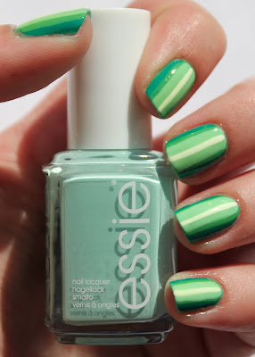 Green ombre stripes nail art with Essie Mint Candy Apple