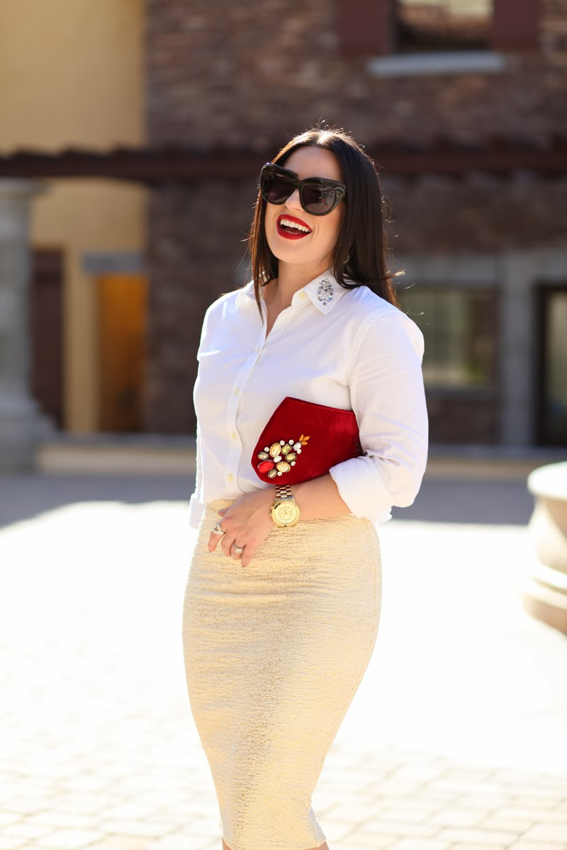 holiday outfit ideas red velvet embellished clutch