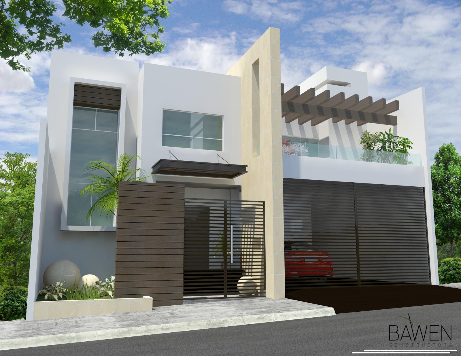 D3d casa mirador residencial monterrey n l bawen for Fachadas de casas pequenas de dos pisos estilo minimalista