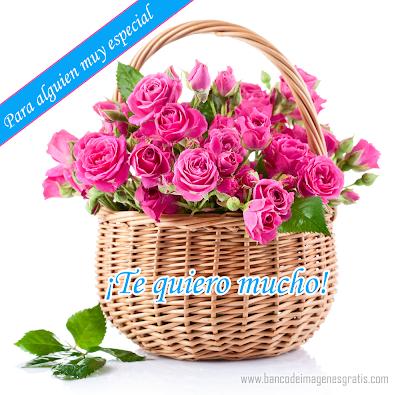 """Postal con flores y mensaje de """"Te quiero mucho"""" comparte"""