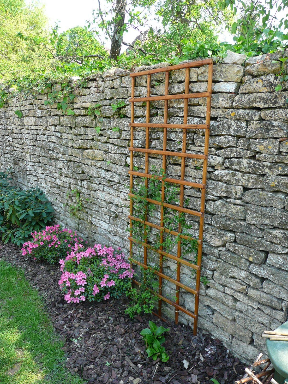 Notre jardin secret treillis et pustule - Habiller un mur exterieur en beton ...