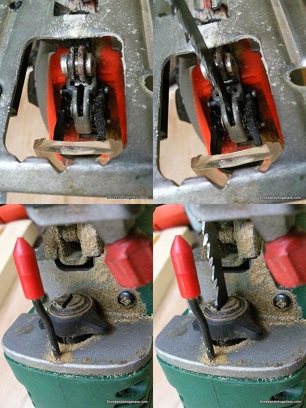 Dos sistemas distintos de anclaje de la hoja de calar. Enredandonogaraxe.com