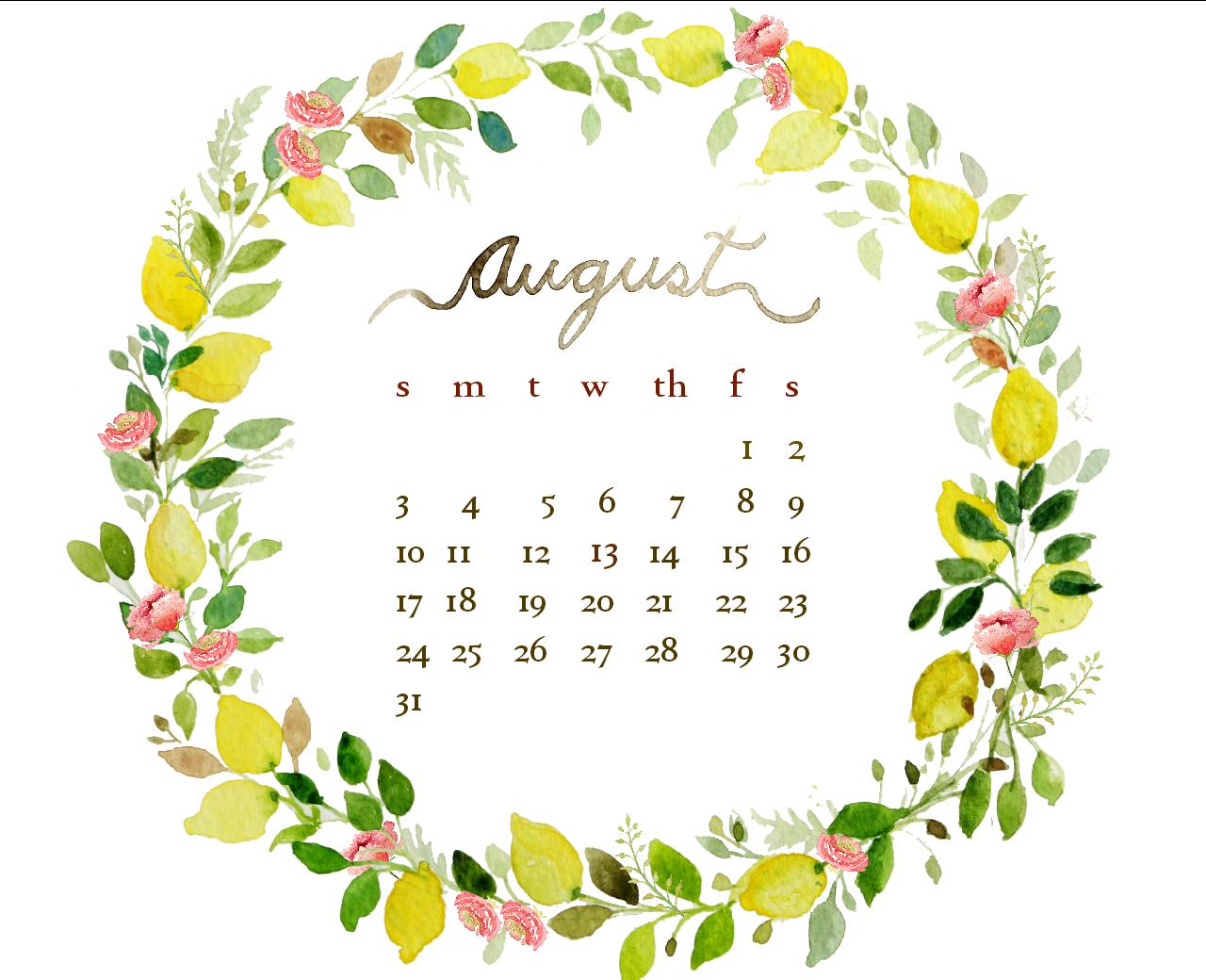 Watercolor Desktop Wallpaper Calendar : August watercolor free desktop calendar