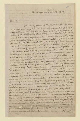 Letter that James Monroe wrote to Thomas Jefferson about the Prosser slave rebellion.