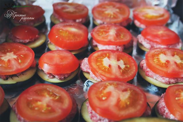 Баклажаны с помидорами и сыром и фаршем в духовке