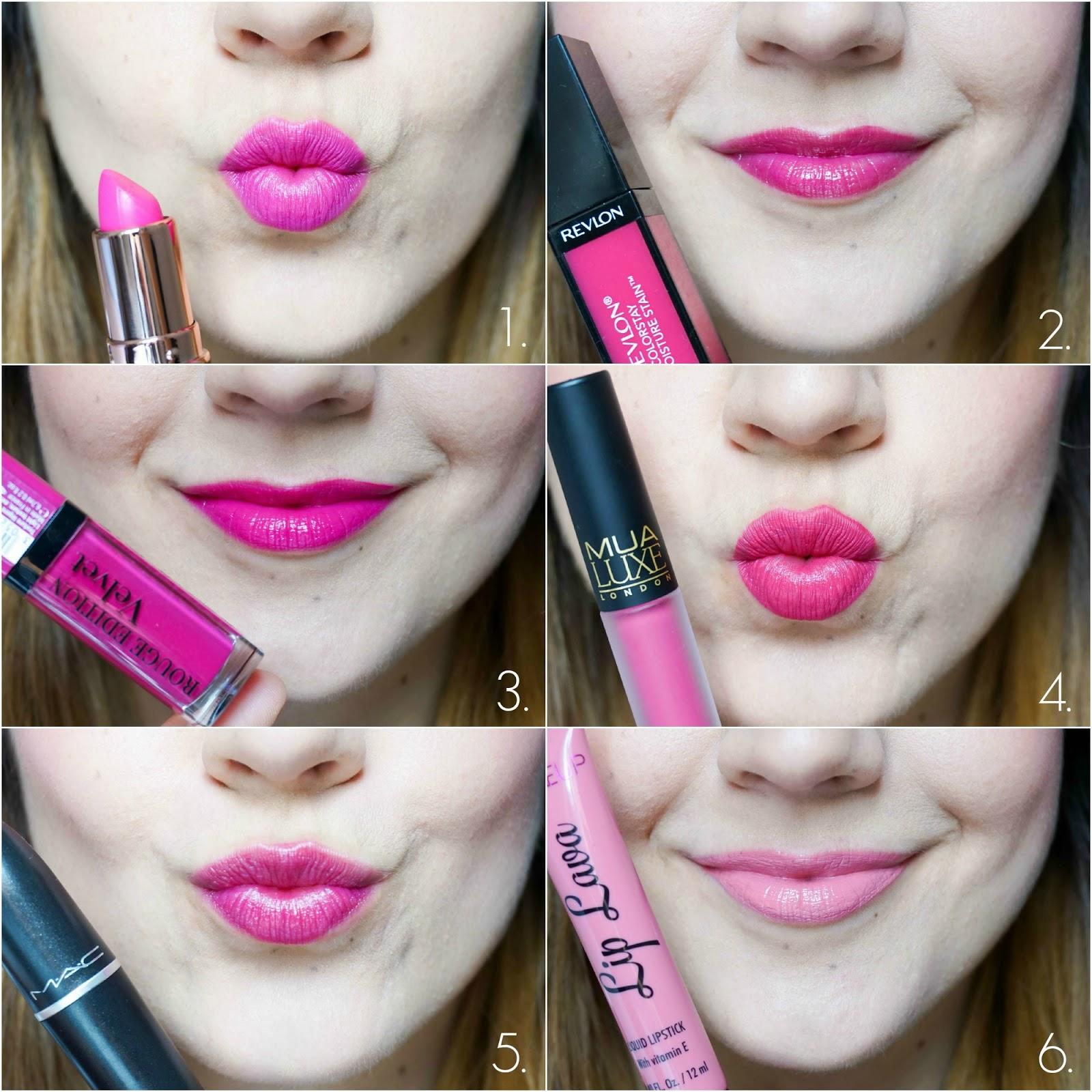 Pink Summer Lips, MAC, Makeup Revolution, Bourjois, Revlon, MUA