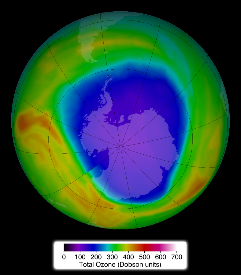 Ozone layer hole location