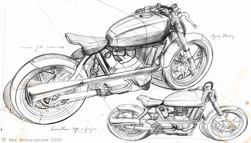 rusty nail racing  cafe racer sketch
