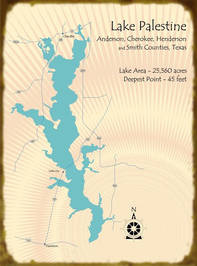 Lake palestine texas map for Lake palestine fishing