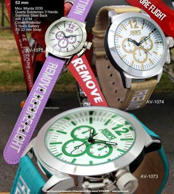 Aviador, remove before flight, relojes, Made in Spain, Cabujon,