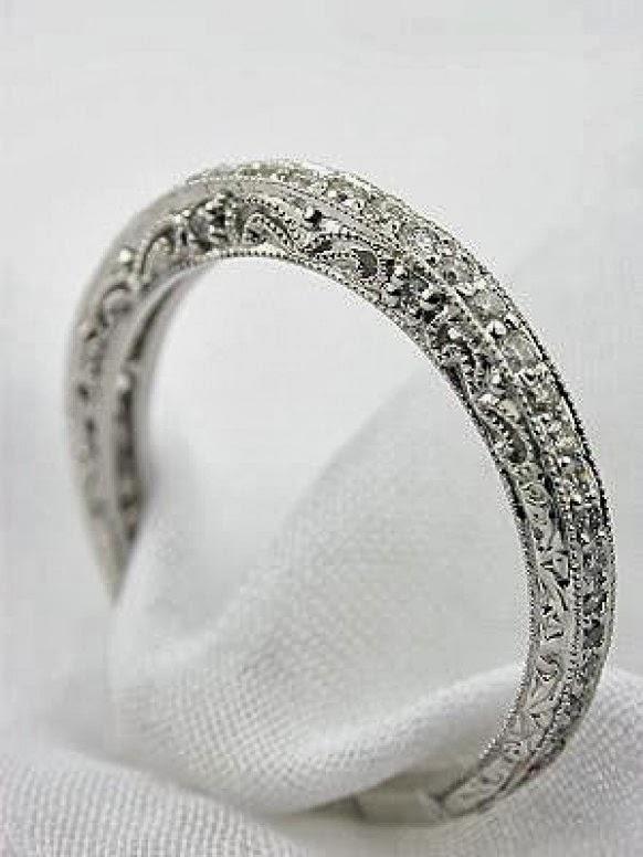 Stunning antique filigree diamond wedding band