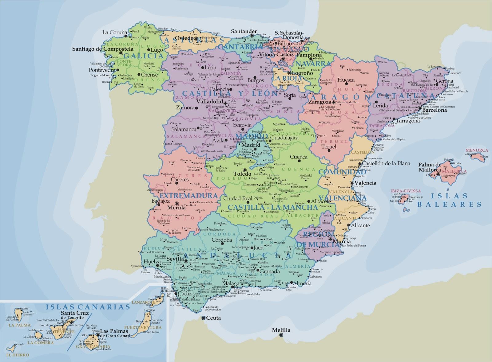 mapa politico de españa