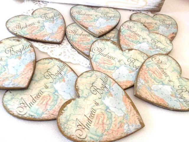 handmade map hearts wedding favours