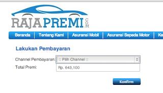 Pilih saluran pembayaran pada kolom pembelian di www.rajapremi.com