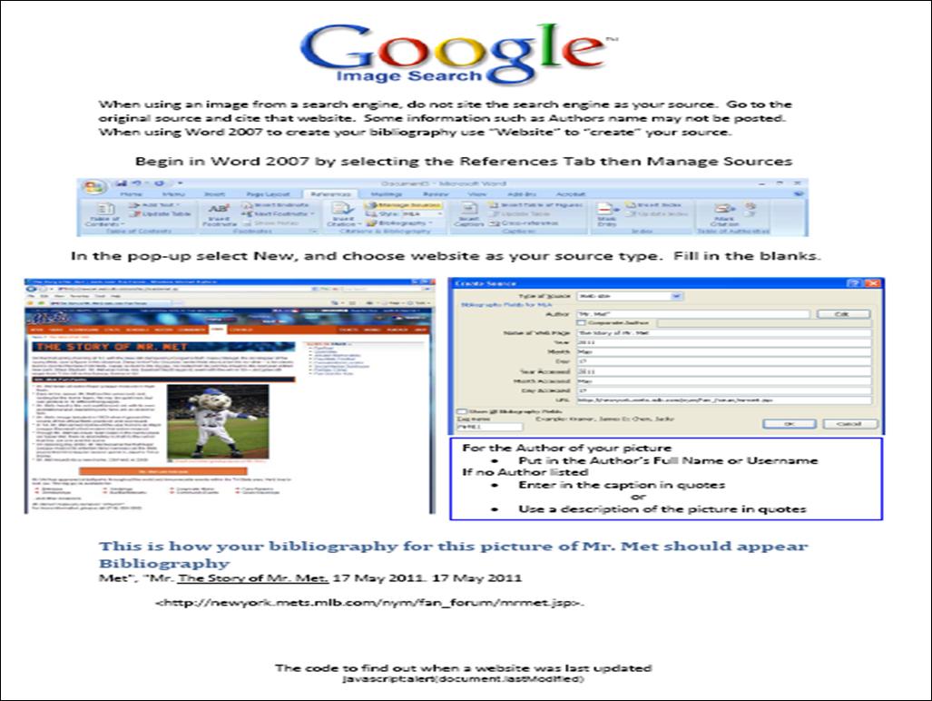 mla format web site