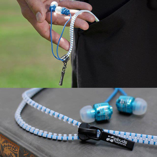 zipper, earphones, zipbuds, cool design, awesome