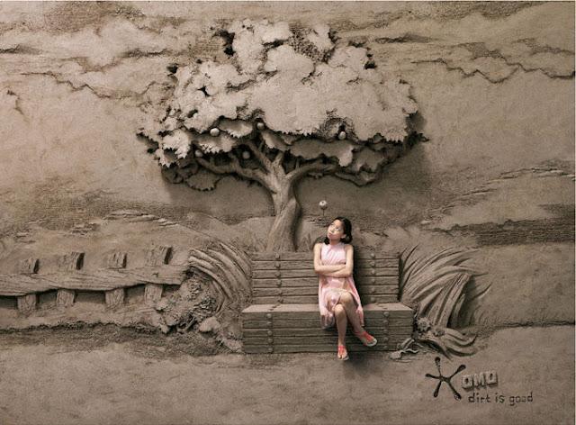 Dirt is good, lowe singapour,Jooheng Tan,art,arte,arena,escultura,sculture,sand,arbol,tree,banco,bench,niña,girl