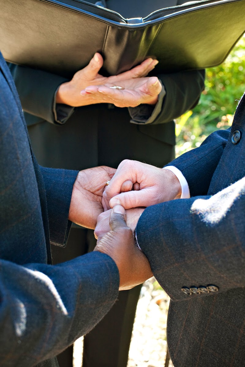 Barry and Robert hold hands at their ceremony - Patricia Stimac, Seattle Wedding Officiant