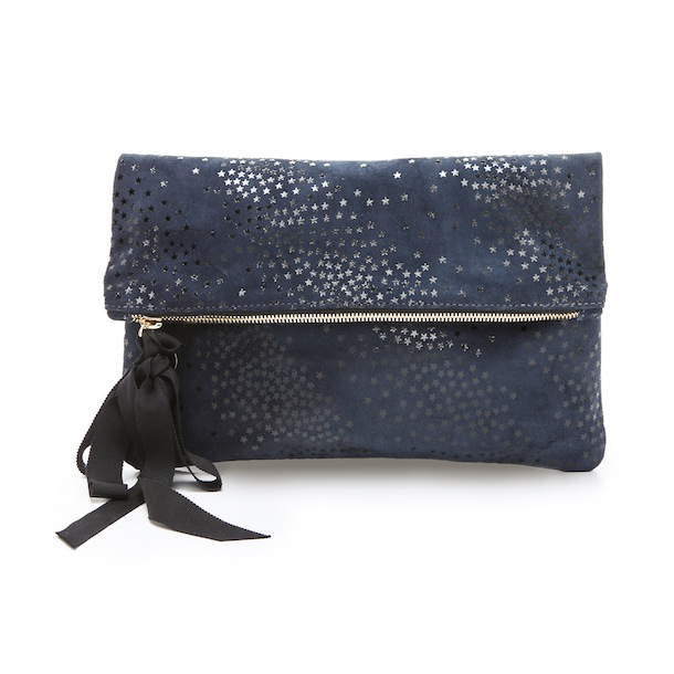 Clare Vivier Star Print Fold Over Clutch With Grosgrain Ribbon Tassel In Denim Star Print