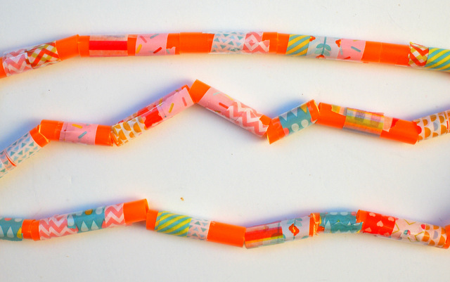 Easy Craft idea- wrap washi tape around straws to turn them into beads